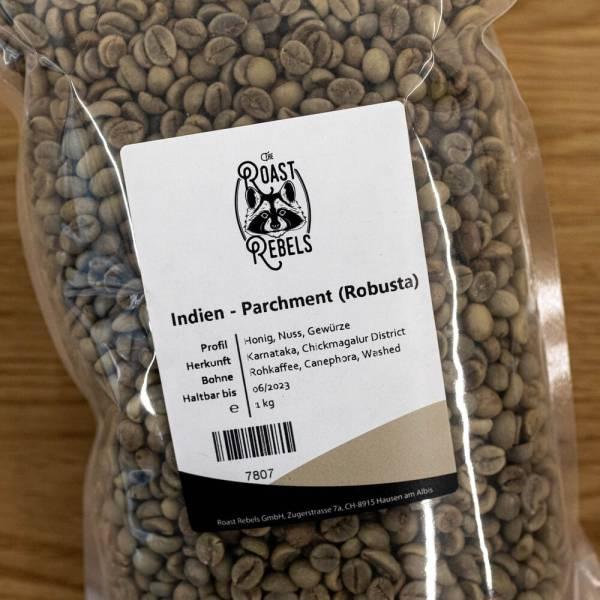 Grüne Kaffeebohnen Indien Robusta Parchment