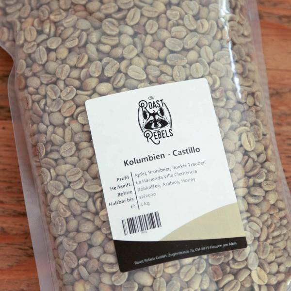 Grüne Kaffeebohnen Kolumbien Castillo